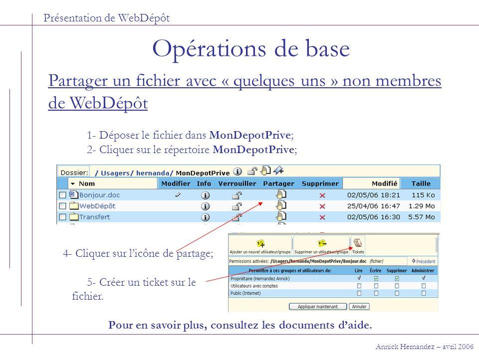 Présentation de WebDépôt Opérations de base Annick Hernandez – avril 2006 Partager un fichier avec « quelques uns » non membres de WebDépôt 1- Déposer