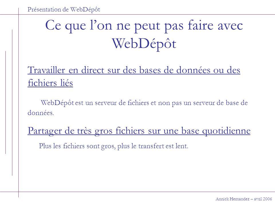 Présentation de WebDépôt Ce que lon ne peut pas faire avec WebDépôt Annick Hernandez – avril 2006 Travailler en direct sur des bases de données ou des
