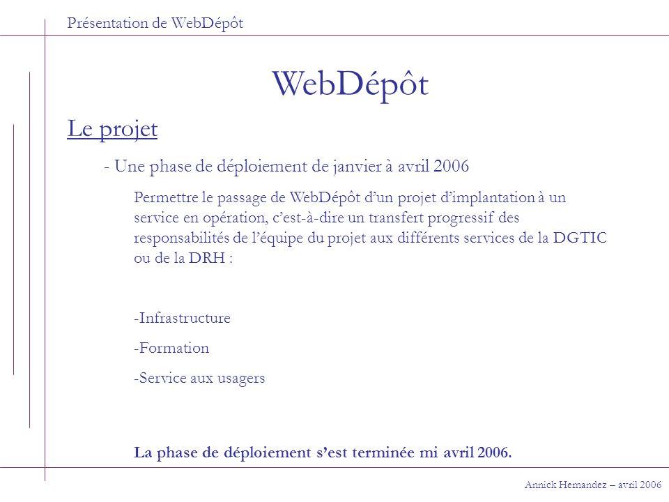 Présentation de WebDépôt WebDépôt Annick Hernandez – avril 2006 Le projet - Une phase de déploiement de janvier à avril 2006 Permettre le passage de W
