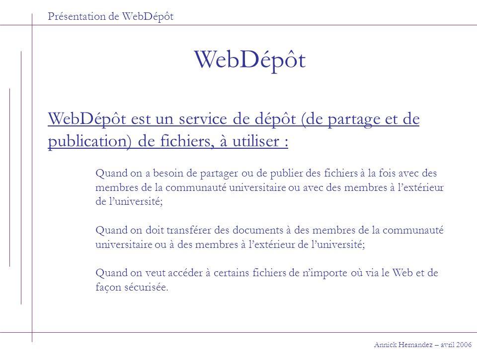 Présentation de WebDépôt Opérations de base Annick Hernandez – avril 2006 Déposer ou aller chercher un fichier sur WebDépôt 3- Cliquer sur un répertoire si besoin est; 4- Pour déposer un fichier, le glisser du poste local vers le serveur.