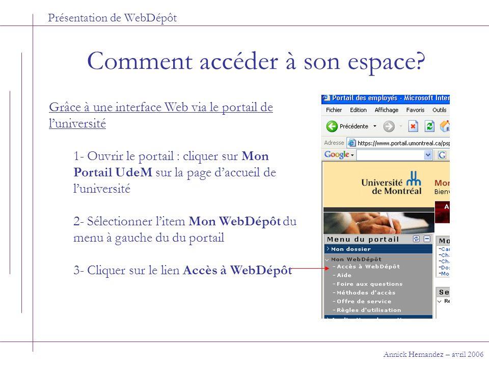 Présentation de WebDépôt Comment accéder à son espace? Annick Hernandez – avril 2006 Grâce à une interface Web via le portail de luniversité 1- Ouvrir