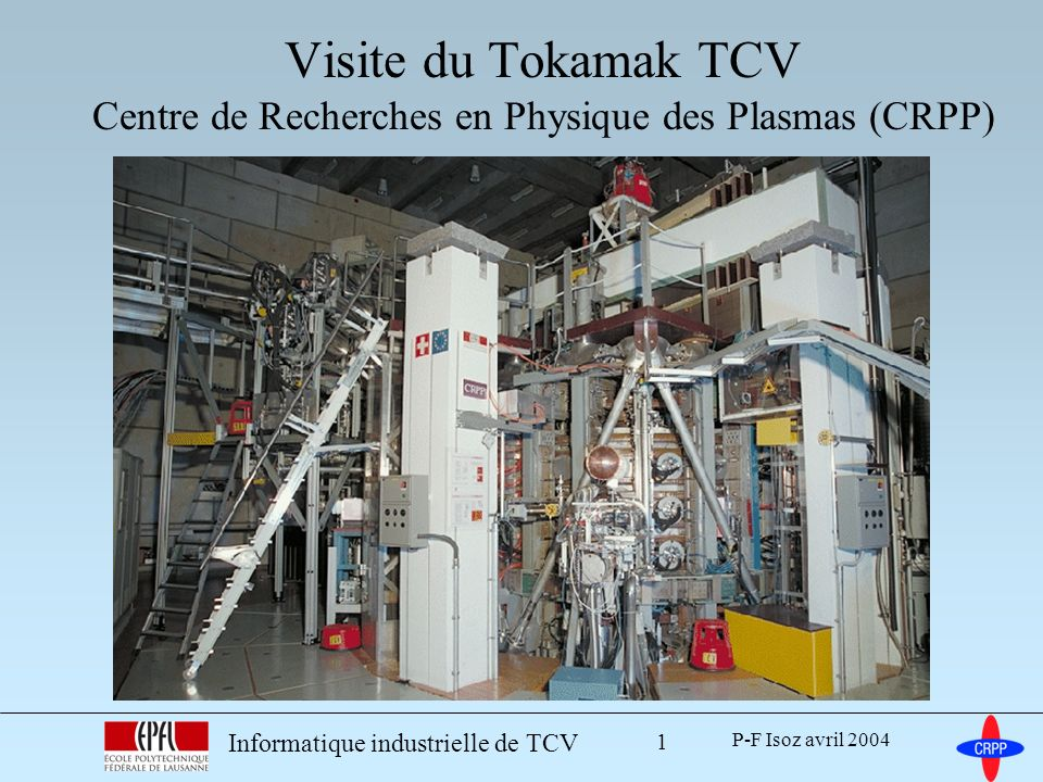 P-F Isoz avril 2004 Informatique industrielle de TCV 2 Déroulement de la visite En salle de cours –aspects de l informatique industrielle Déplacement au CRPP Exposé sur le plasma et le tokamak Visite en 3 groupes –alimentations et puissance –tour du tokamak et de ses systèmes –salle de commande et pilotage