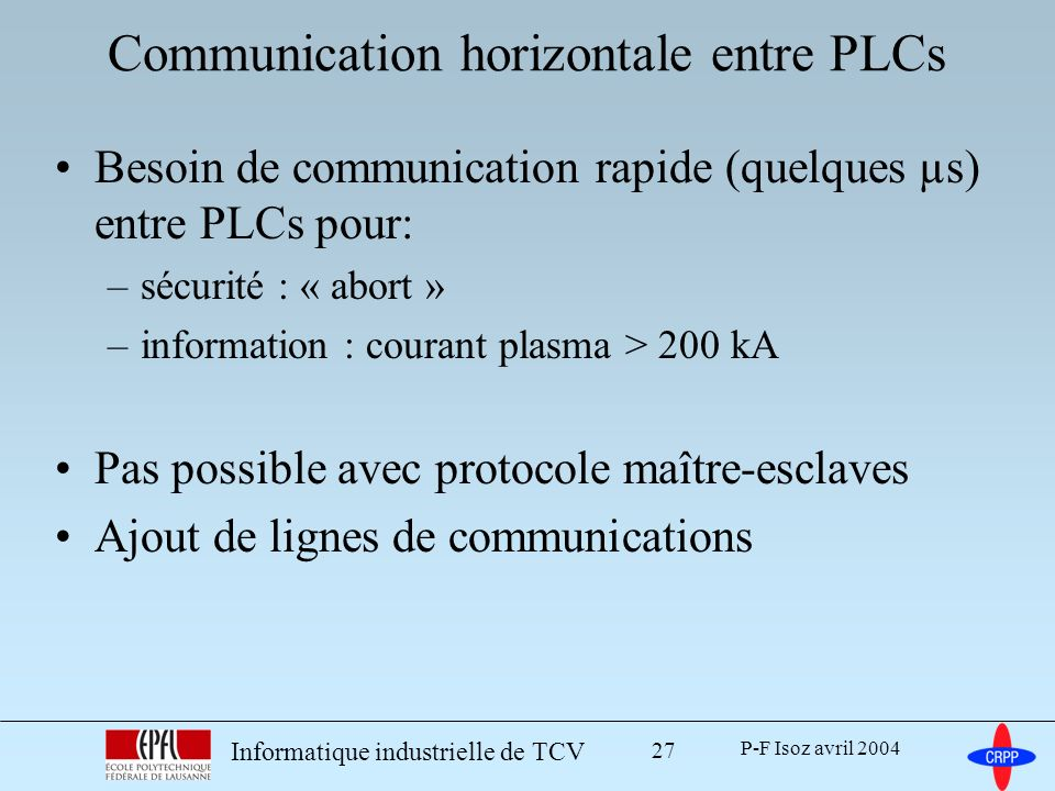 P-F Isoz avril 2004 Informatique industrielle de TCV 27 Communication horizontale entre PLCs Besoin de communication rapide (quelques µs) entre PLCs p