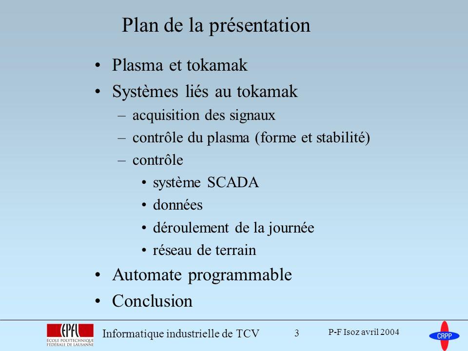 P-F Isoz avril 2004 Informatique industrielle de TCV 4 Plasma et tokamak Systèmes liés au tokamak –acquisition des signaux –contrôle du plasma (forme et stabilité) –contrôle système SCADA données déroulement de la journée réseau de terrain Automate programmable Conclusion Plan de la présentation