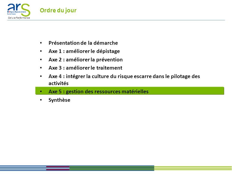 Cellule Performance Ordre du jour Présentation de la démarche Axe 1 : améliorer le dépistage Axe 2 : améliorer la prévention Axe 3 : améliorer le traitement Axe 4 : intégrer la culture du risque escarre dans le pilotage des activités Axe 5 : gestion des ressources matérielles Synthèse