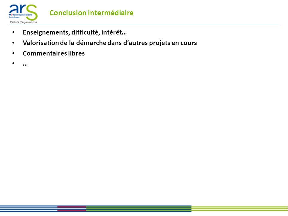 Cellule Performance Conclusion intermédiaire Enseignements, difficulté, intérêt… Valorisation de la démarche dans dautres projets en cours Commentaires libres …