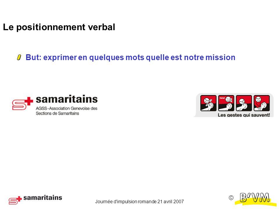 Journée d impulsion romande 21 avril 2007 Le positionnement verbal But: exprimer en quelques mots quelle est notre mission