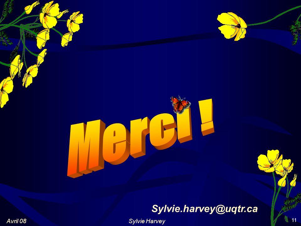 Sylvie HarveyAvril 08 11 Sylvie.harvey@uqtr.ca
