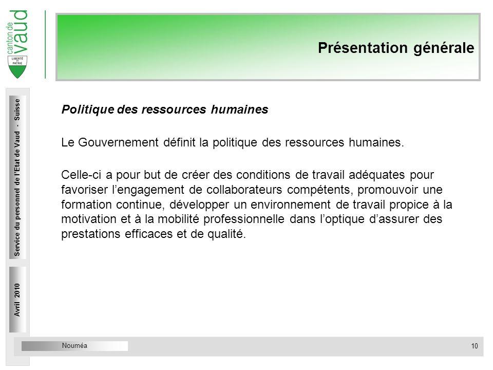 Nouméa Service du personnel Rue Caroline 4 1014 Lausanne Présentation générale Politique des ressources humaines Le Gouvernement définit la politique des ressources humaines.