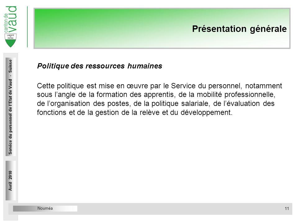 Nouméa Service du personnel Rue Caroline 4 1014 Lausanne Présentation générale Politique des ressources humaines Cette politique est mise en œuvre par