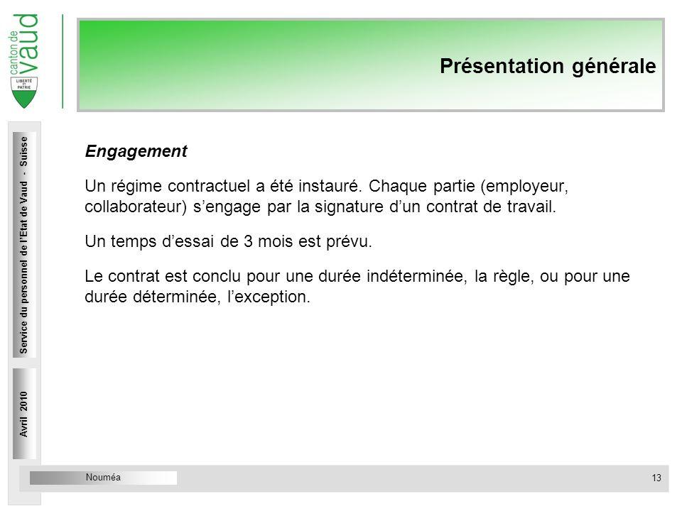 Nouméa Service du personnel Rue Caroline 4 1014 Lausanne Présentation générale Engagement Un régime contractuel a été instauré. Chaque partie (employe