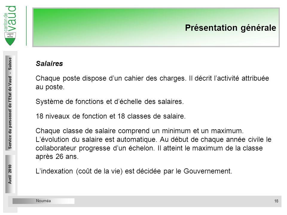 Nouméa Service du personnel Rue Caroline 4 1014 Lausanne Présentation générale Salaires Chaque poste dispose dun cahier des charges. Il décrit lactivi