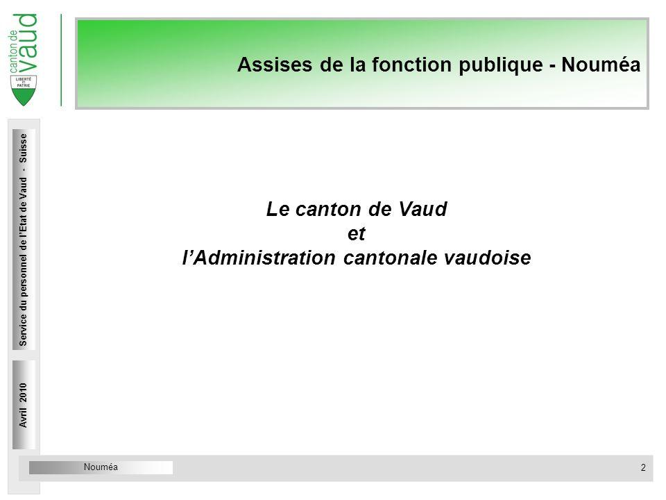Service du personnel Rue Caroline 4 1014 Lausanne Assises de la fonction publique - Nouméa Le canton de Vaud et lAdministration cantonale vaudoise Avr