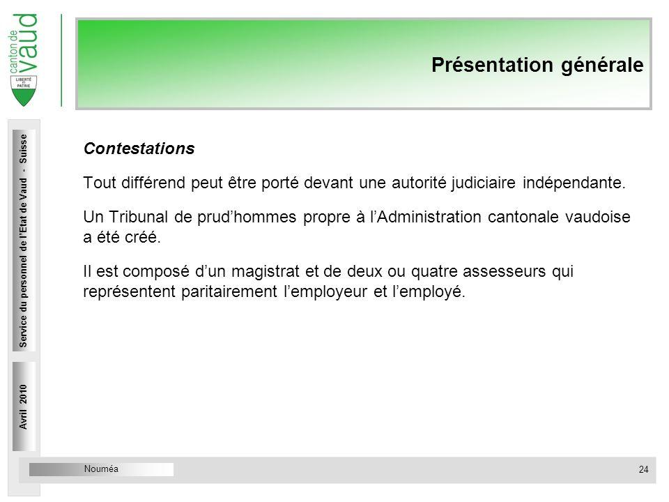 Nouméa Service du personnel Rue Caroline 4 1014 Lausanne Présentation générale Contestations Tout différend peut être porté devant une autorité judici