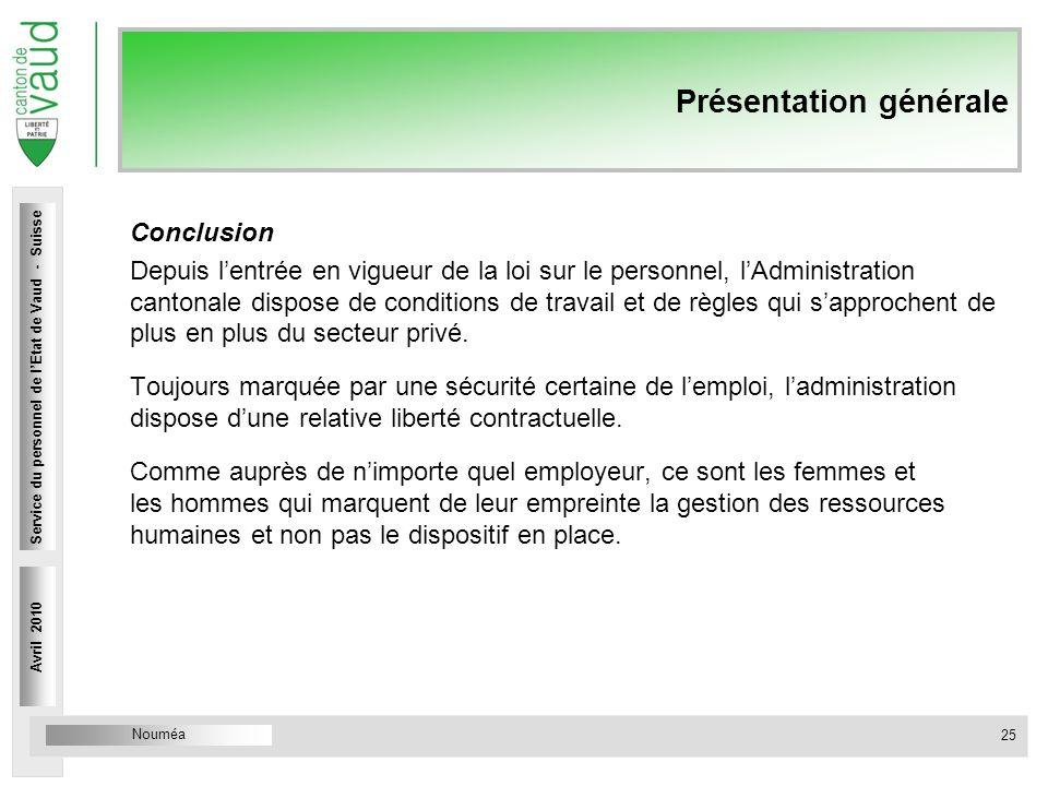 Nouméa Service du personnel Rue Caroline 4 1014 Lausanne Présentation générale Conclusion Depuis lentrée en vigueur de la loi sur le personnel, lAdmin