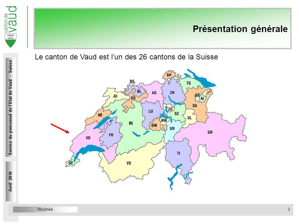 Nouméa Service du personnel Rue Caroline 4 1014 Lausanne Présentation générale Avril 2010 3 Service du personnel de lEtat de Vaud - Suisse Le canton de Vaud est lun des 26 cantons de la Suisse