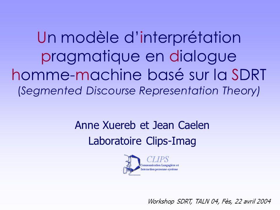Workshop SDRT, TALN 04, Fès, 22 avril 2004 12 Règles dinférence : QAP( 1, 2 ) Règles de déclenchement F FS ( 1 ) F F ( 1 ), F S ( 2 ) SatQR (K 1, K 2 ) Conditions de satisfaction Q/R : K 1 : .