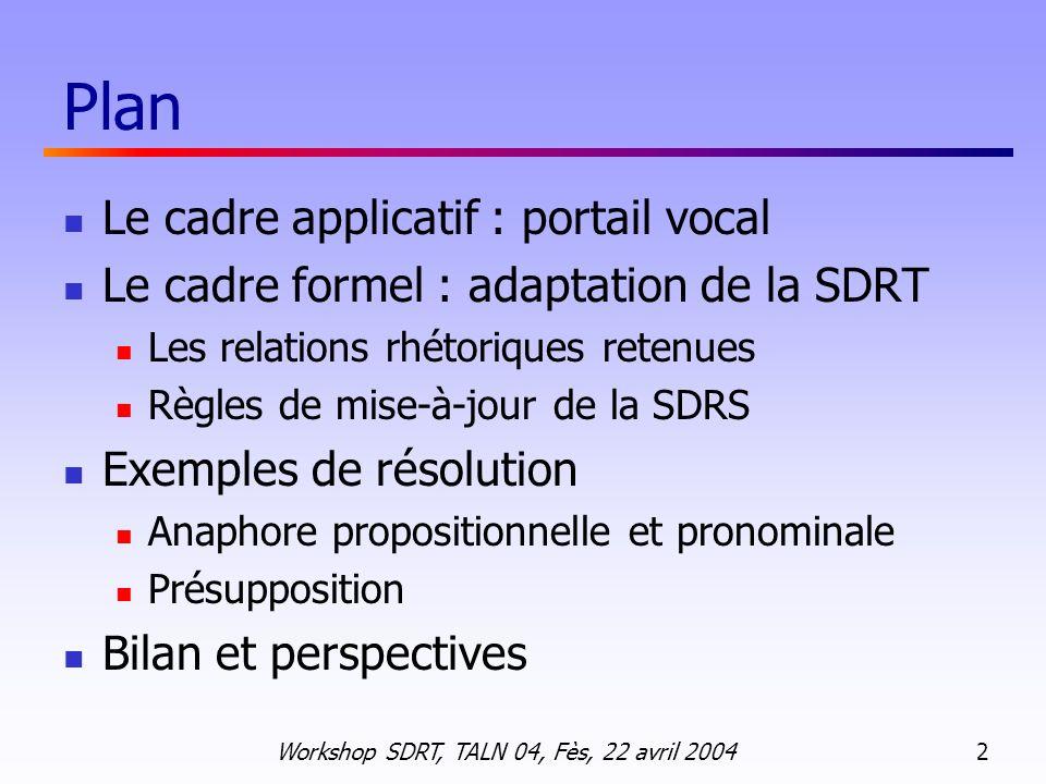Workshop SDRT, TALN 04, Fès, 22 avril 2004 13 Règles dinférence : PQAP( 1, 2 ) Règles de déclenchement F FS ( 1 ) F F ( 1 ), F S ( 2 ) SatQR (K 1, K 2 ) Conditions de satisfaction Q/R Soit K 2 contient moins de constituants que les lambda-termes de K 1 Soit les référents de K 2 sunifient avec les lambda-termes de K 1 mais spécifient une opération de restriction et non une valeur exacte.