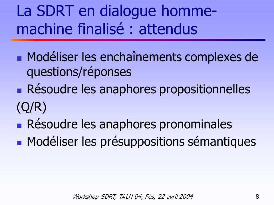Workshop SDRT, TALN 04, Fès, 22 avril 2004 19 Anaphore pronominale U: Bonjour, Luc Blanc à lappareil.