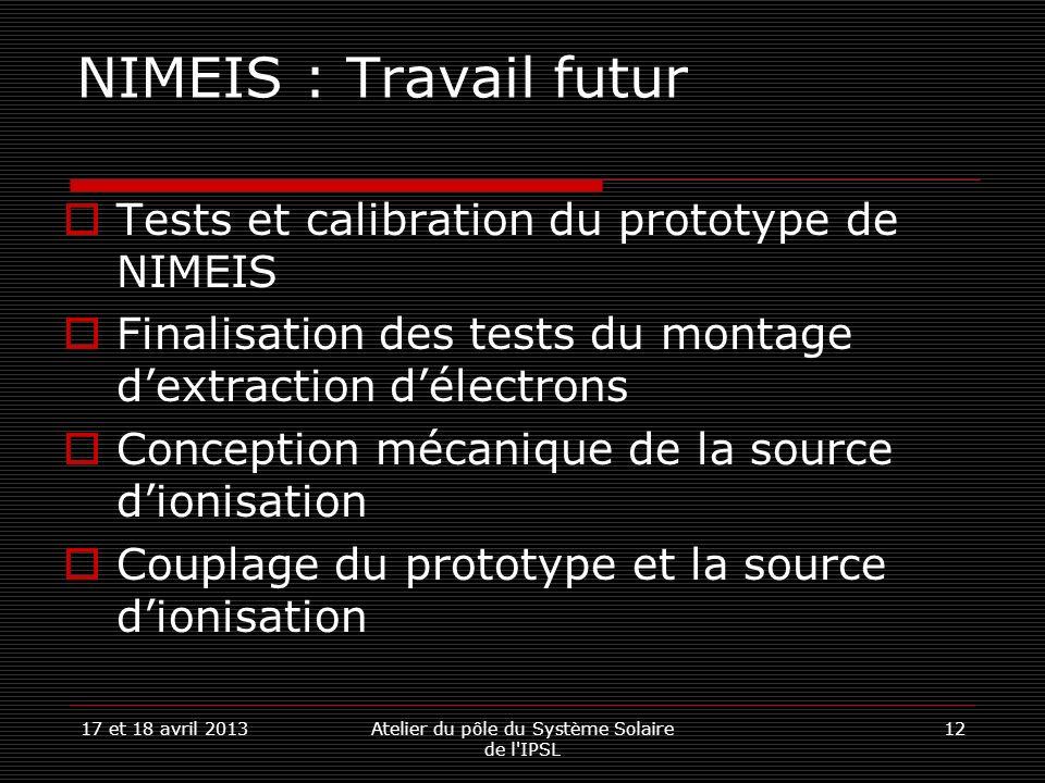 17 et 18 avril 2013Atelier du pôle du Système Solaire de l'IPSL 12 NIMEIS : Travail futur Tests et calibration du prototype de NIMEIS Finalisation des
