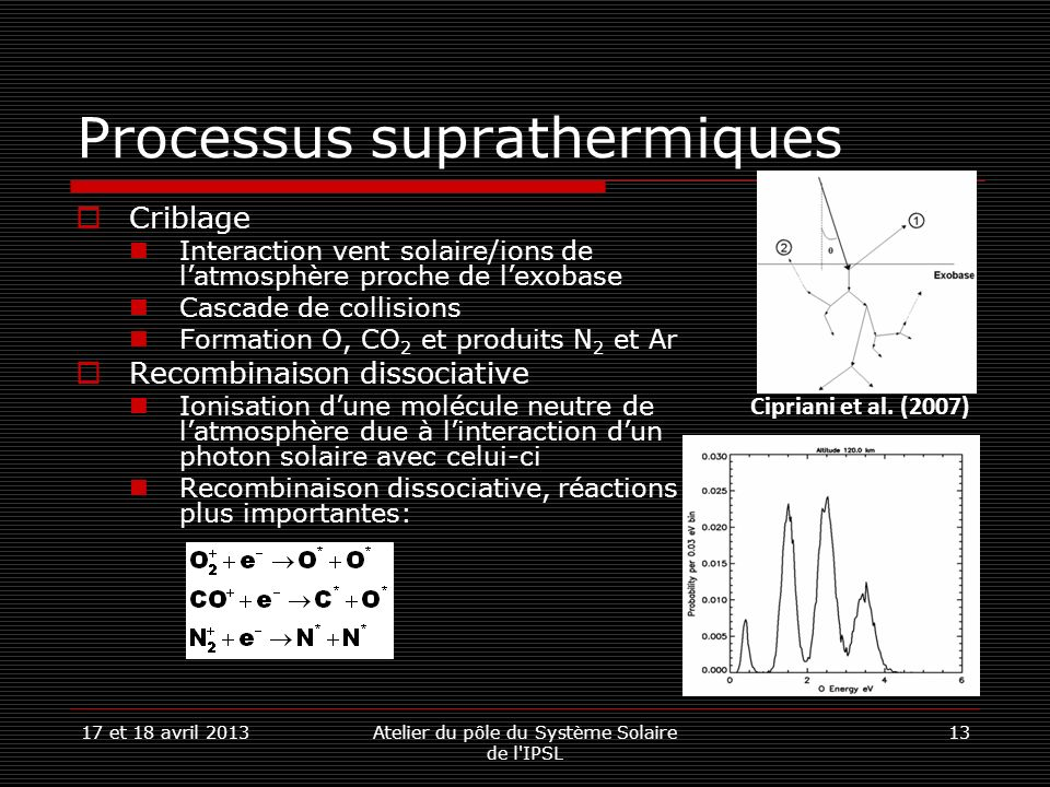 17 et 18 avril 2013Atelier du pôle du Système Solaire de l'IPSL 13 Processus suprathermiques Criblage Interaction vent solaire/ions de latmosphère pro