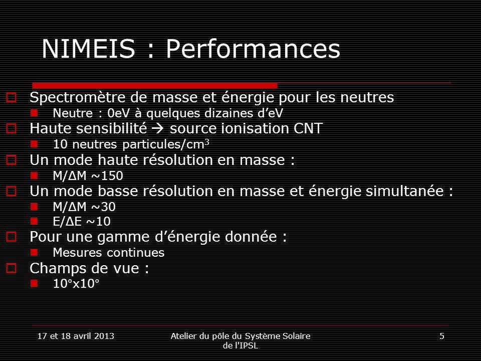 17 et 18 avril 2013Atelier du pôle du Système Solaire de l IPSL 617 et 18 avril 2013Atelier du pôle du Système Solaire de l IPSL 6 NIMEIS : Performances Spectromètre de masse et énergie pour les neutres Neutre : 0eV à quelques dizaines deV Haute sensibilité source ionisation CNT 10 neutres particules/cm 3 Un mode haute résolution en masse : M/ΔM ~150 Un mode basse résolution en masse et énergie simultanée : M/ΔM ~30 E/ΔE ~10 Pour une gamme dénergie donnée : Mesures continues Champs de vue : 10°x10°