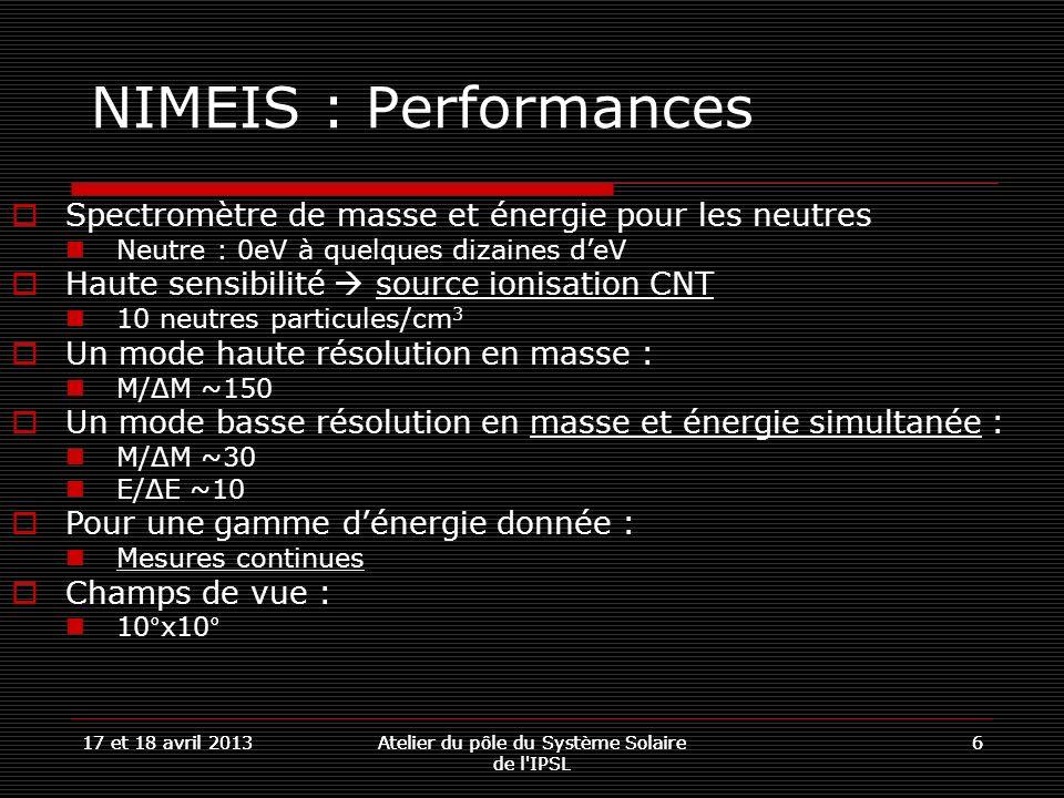 17 et 18 avril 2013Atelier du pôle du Système Solaire de l'IPSL 617 et 18 avril 2013Atelier du pôle du Système Solaire de l'IPSL 6 NIMEIS : Performanc