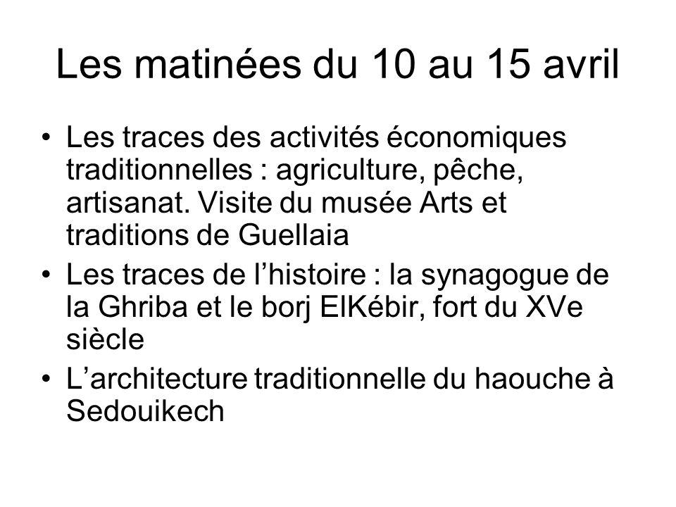 Les matinées du 10 au 15 avril Les traces des activités économiques traditionnelles : agriculture, pêche, artisanat.