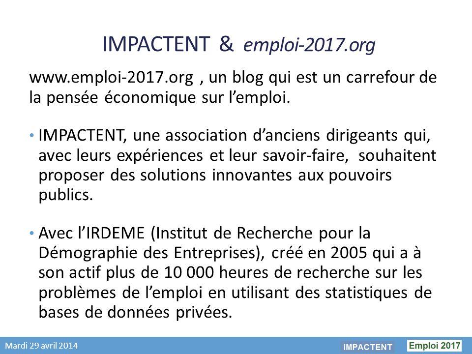 Mardi 29 avril 2014 IMPACTENT & emploi-2017.org www.emploi-2017.org, un blog qui est un carrefour de la pensée économique sur lemploi.