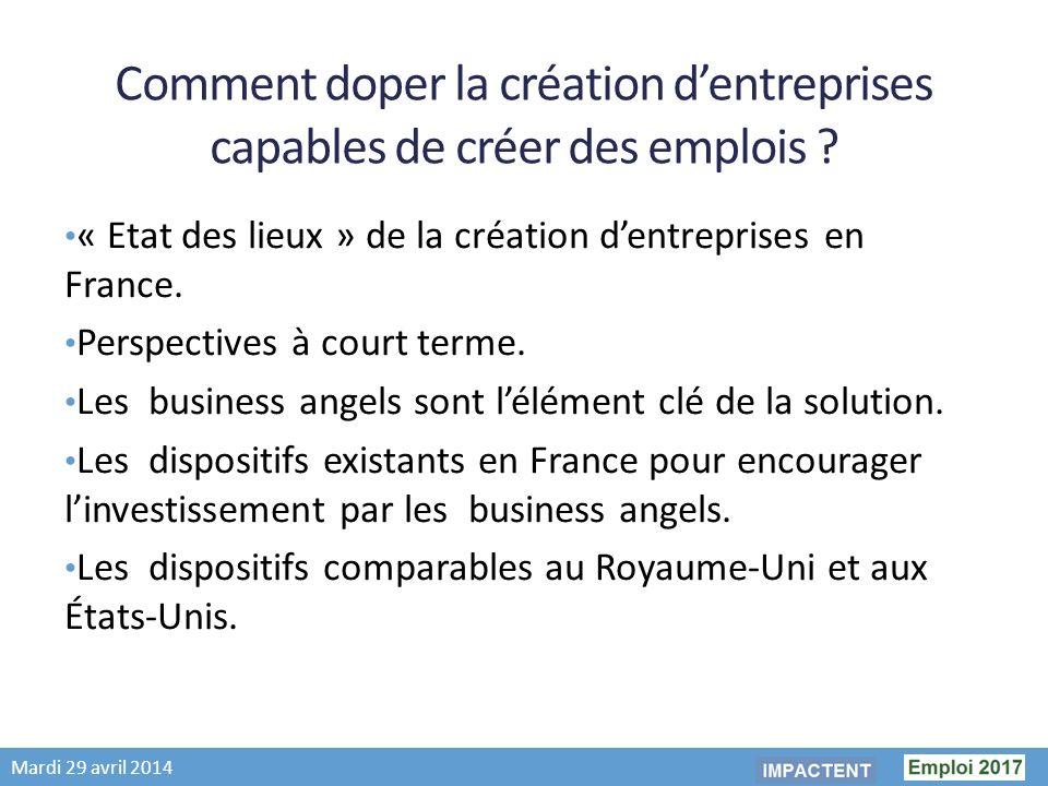 Mardi 29 avril 2014 Comment doper la création dentreprises capables de créer des emplois .