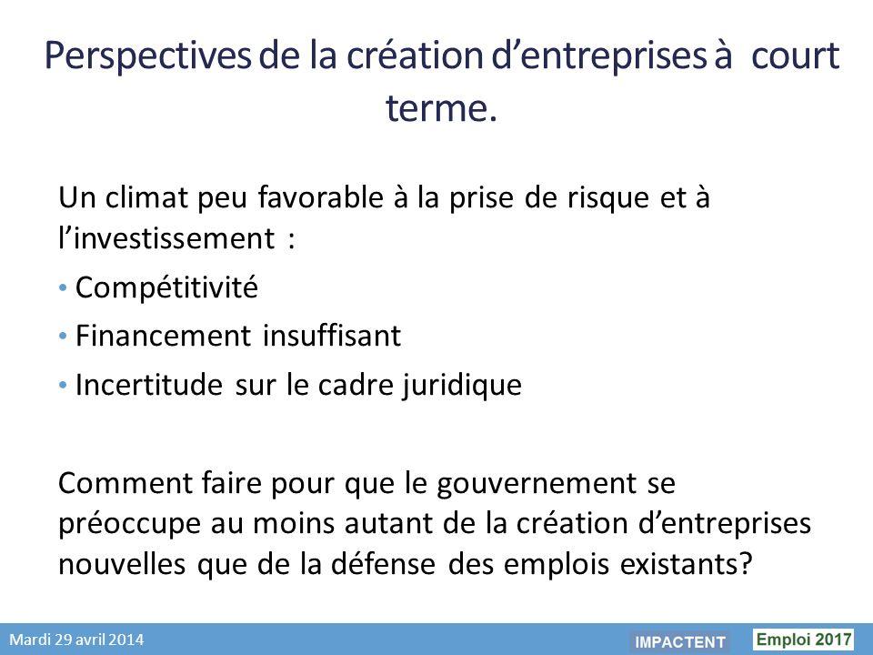 Mardi 29 avril 2014 Perspectives de la création dentreprises à court terme.