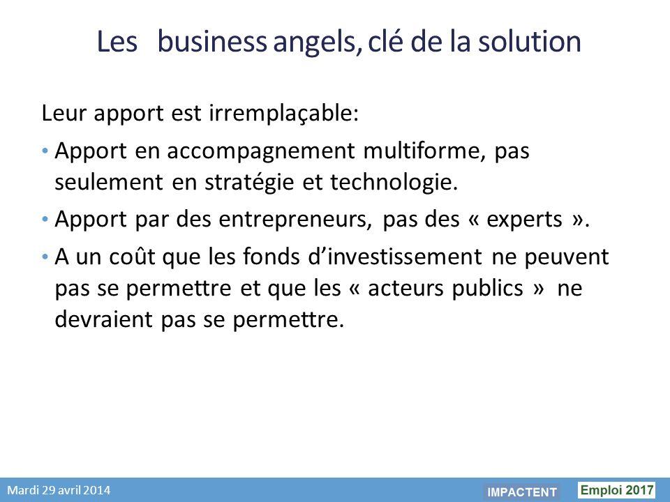 Mardi 29 avril 2014 Les business angels, clé de la solution Leur apport est irremplaçable: Apport en accompagnement multiforme, pas seulement en stratégie et technologie.