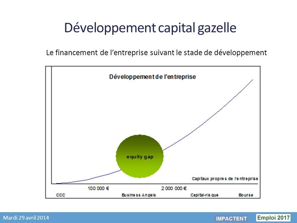 Mardi 29 avril 2014 Développement capital gazelle Le financement de lentreprise suivant le stade de développement