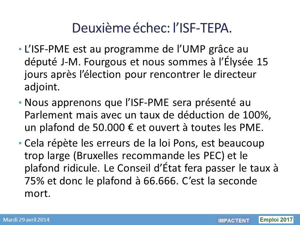 Mardi 29 avril 2014 Deuxième échec: lISF-TEPA.