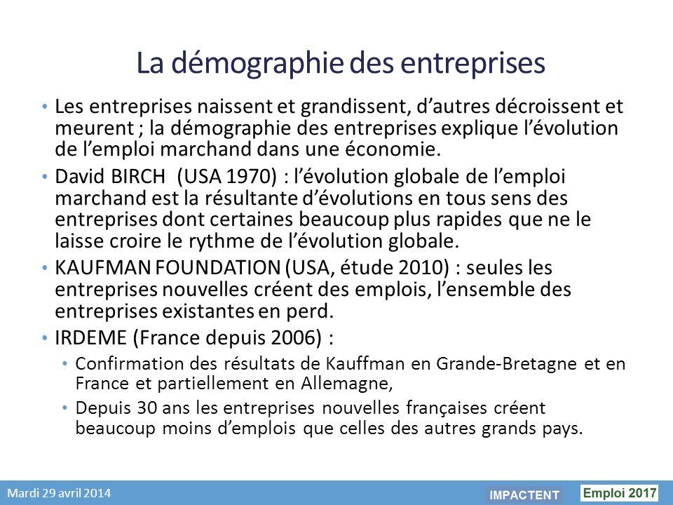 Mardi 29 avril 2014 La démographie des entreprises Les entreprises naissent et grandissent, dautres décroissent et meurent ; la démographie des entreprises explique lévolution de lemploi marchand dans une économie.