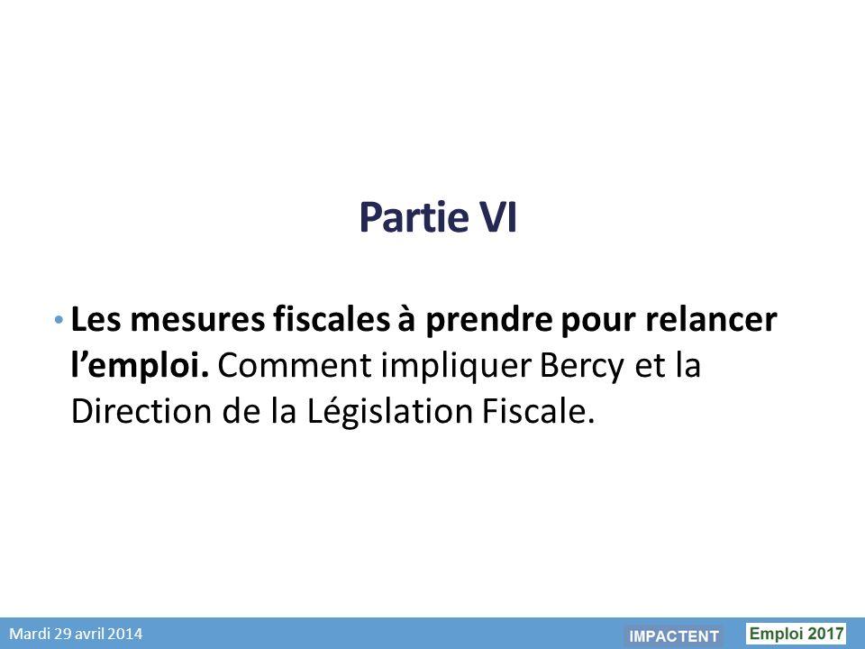 Mardi 29 avril 2014 Partie VI Les mesures fiscales à prendre pour relancer lemploi.