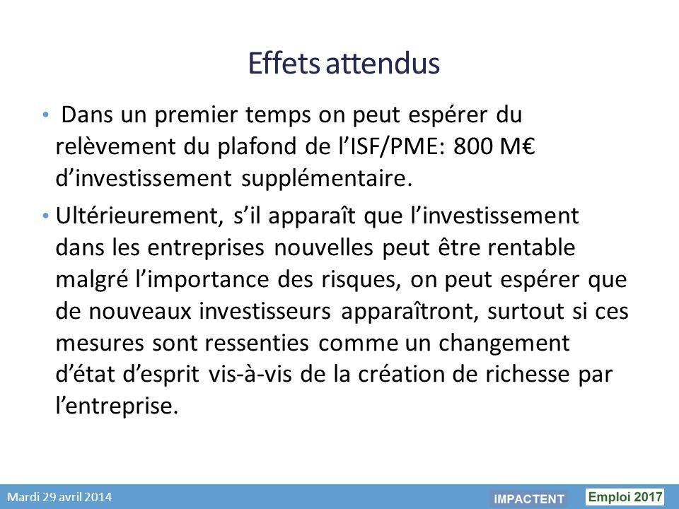 Mardi 29 avril 2014 Effets attendus Dans un premier temps on peut espérer du relèvement du plafond de lISF/PME: 800 M dinvestissement supplémentaire.