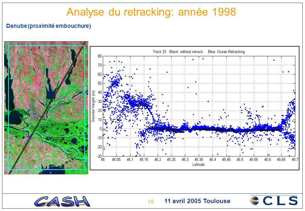 16 11 avril 2005 Toulouse Analyse du retracking: année 1998 Danube (proximité embouchure)