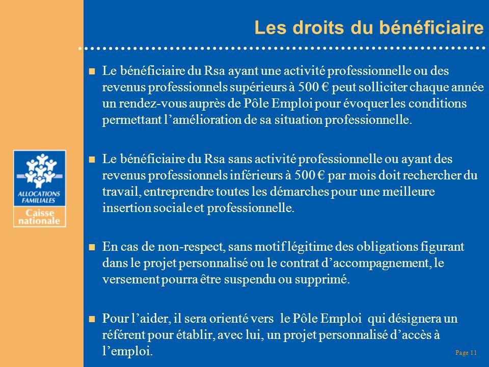 Page 11 Les droits du bénéficiaire n Le bénéficiaire du Rsa ayant une activité professionnelle ou des revenus professionnels supérieurs à 500 peut sol