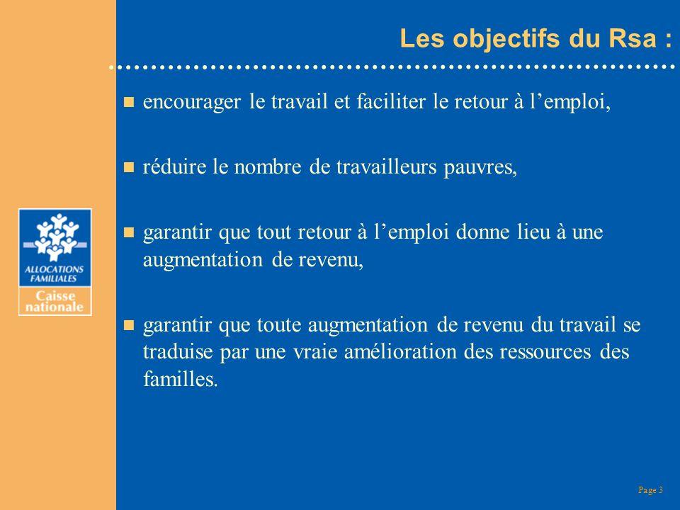 Page 3 Les objectifs du Rsa : n encourager le travail et faciliter le retour à lemploi, n réduire le nombre de travailleurs pauvres, n garantir que to