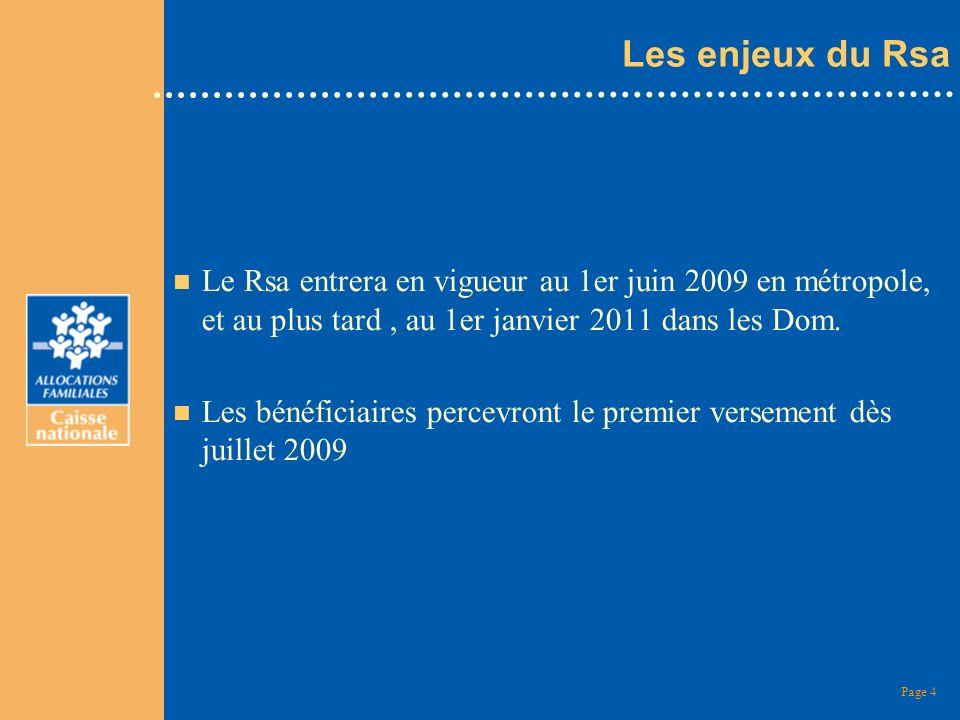 Page 4 Les enjeux du Rsa n Le Rsa entrera en vigueur au 1er juin 2009 en métropole, et au plus tard, au 1er janvier 2011 dans les Dom. n Les bénéficia