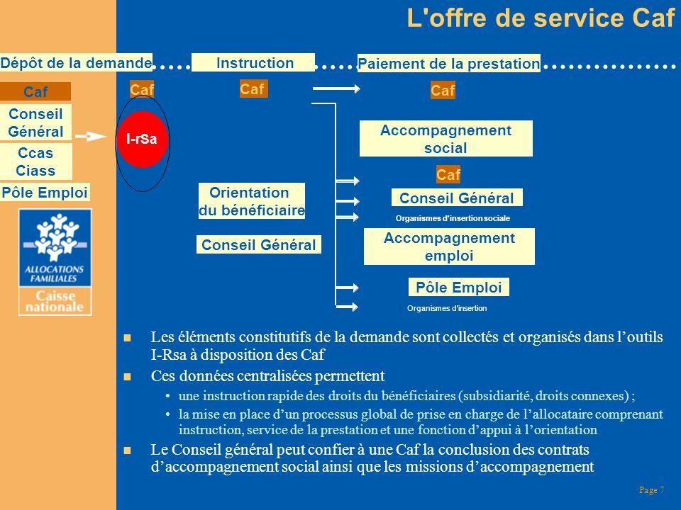 Page 7 n Les éléments constitutifs de la demande sont collectés et organisés dans loutils I-Rsa à disposition des Caf n Ces données centralisées perme