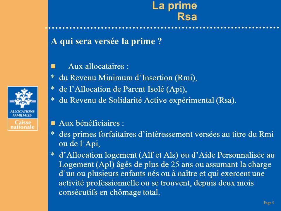 Page 10 Prime Rsa n Quel sera le montant de la prime .
