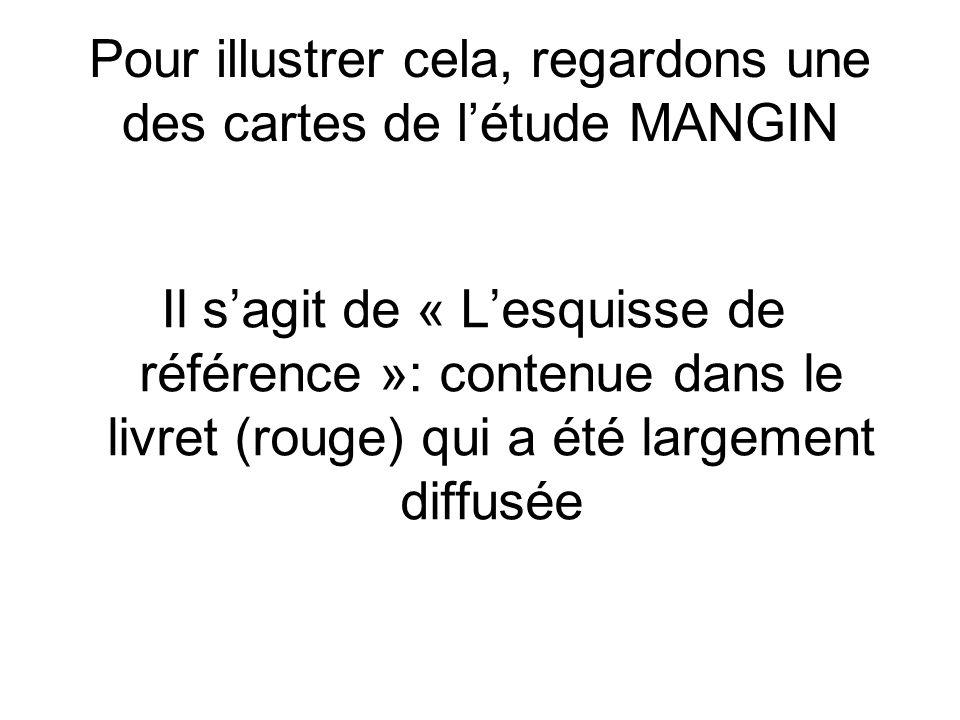 Pour illustrer cela, regardons une des cartes de létude MANGIN Il sagit de « Lesquisse de référence »: contenue dans le livret (rouge) qui a été largement diffusée