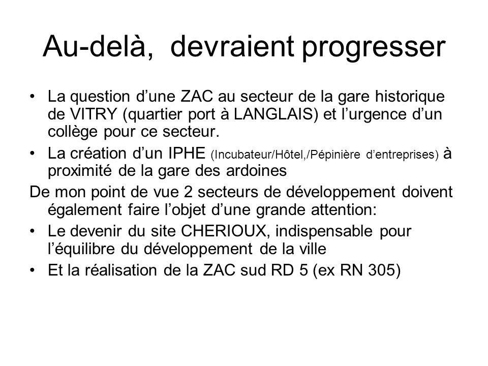 Au-delà, devraient progresser La question dune ZAC au secteur de la gare historique de VITRY (quartier port à LANGLAIS) et lurgence dun collège pour ce secteur.
