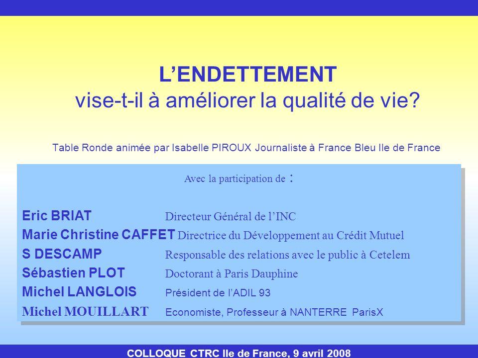 COLLOQUE CTRC Ile de France, 9 avril 2008 Déjeuner sur place au self service Reprise des travaux à 14H30