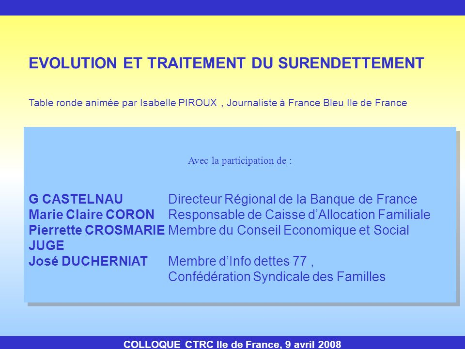 COLLOQUE CTRC Ile de France, 9 avril 2008 EVOLUTION ET TRAITEMENT DU SURENDETTEMENT Table ronde animée par Isabelle PIROUX, Journaliste à France Bleu
