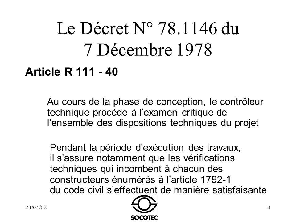 24/04/024 Le Décret N° 78.1146 du 7 Décembre 1978 Article R 111 - 40 Au cours de la phase de conception, le contrôleur technique procède à lexamen cri