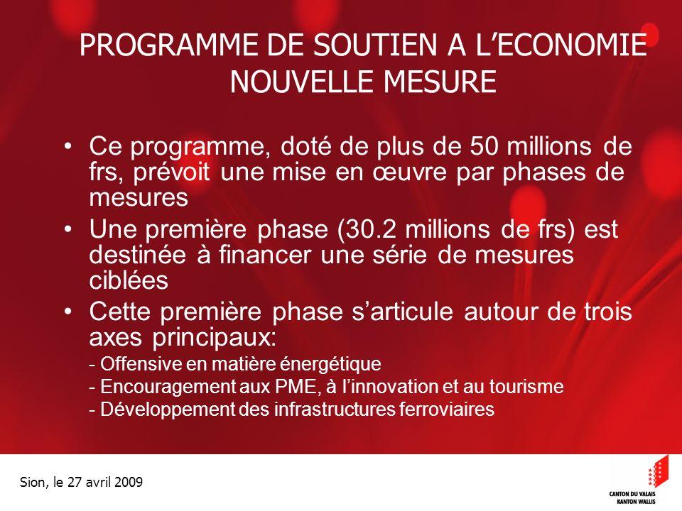 Optimisation de la Promotion économiqueOptimisation de la promotion économique Sion, le 27 avril 2009 PROGRAMME DE SOUTIEN A LECONOMIE NOUVELLE MESURE Ce programme, doté de plus de 50 millions de frs, prévoit une mise en œuvre par phases de mesures Une première phase (30.2 millions de frs) est destinée à financer une série de mesures ciblées Cette première phase sarticule autour de trois axes principaux: - Offensive en matière énergétique - Encouragement aux PME, à linnovation et au tourisme - Développement des infrastructures ferroviaires