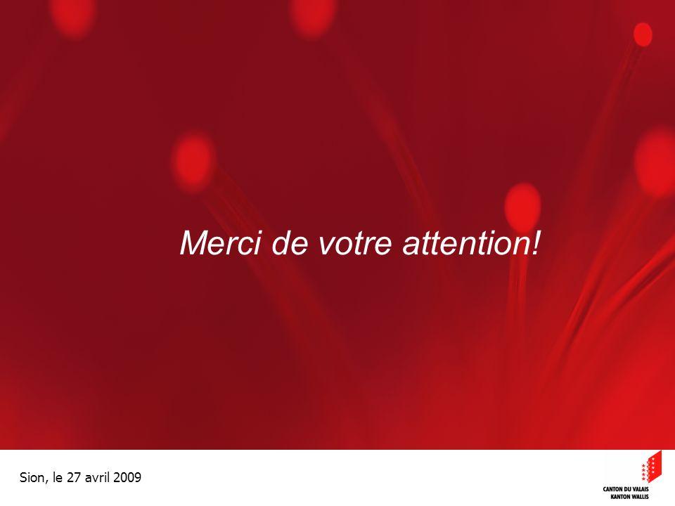 Optimisation de la Promotion économiqueOptimisation de la promotion économique Sion, le 27 avril 2009 Merci de votre attention!